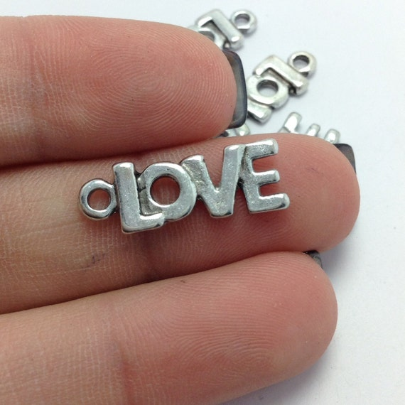 Bulk Love Word Charms 10 Pcs Antique Silver Tone Round Message Tags DIY Jewelry