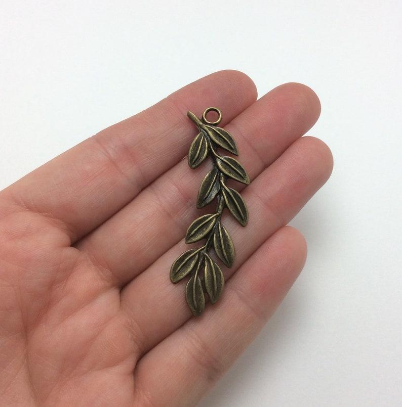 Olive Branch Charms 2pcs Bronze Tone 1-1693