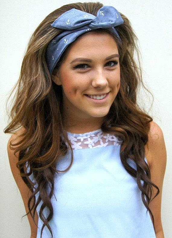 Rockabilly Headband Wired Dolly Bow Pin Up Fabric Headwrap Etsy