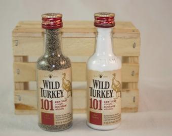 Wild Turkey Salt and Pepper Shaker, Upcycled Mini Wild Turkey Liquor Bottles