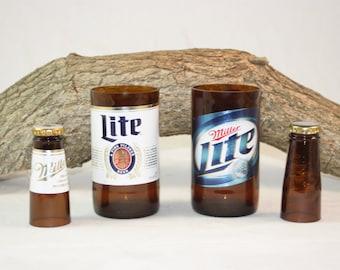 Unique Glassware Upcycled from Miller Lite Beer Bottles, Shot Glass, Drinking Glass, Miller Lite Gift Set