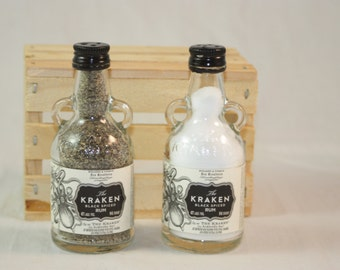 Glass Salt and Pepper Shaker Set Upcycled from 50ml Kraken Liquor Bottles, Upcycled Liquor Bottles