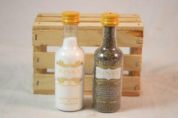 Kinky Gold Salt And Pepper Shaker Upcycled Mini Liquor Etsy