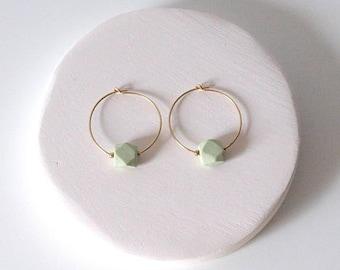 Earrings hexagons, Porcelain, Ceramics, ceramic jewelry