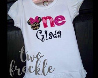 First Birthday Minnie Mouse Shirt, Cheetah Minnie Mouse Shirt