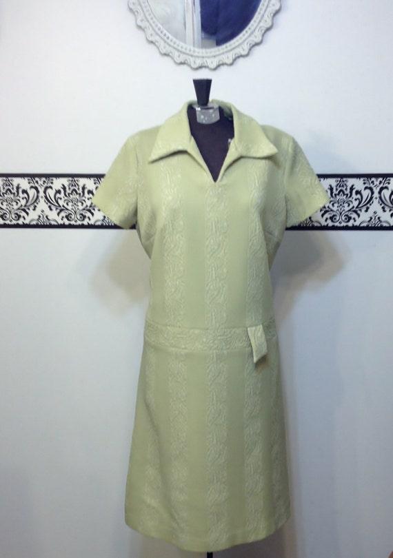 1960's Light Avocado Green Mod Shift Dress by Norm