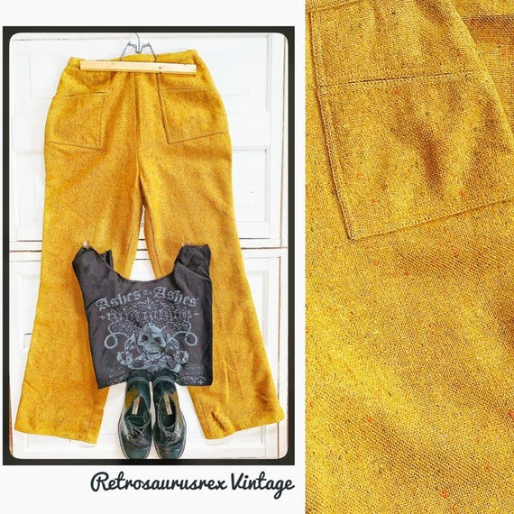 Vintage 1960's Wool Speckled Mustard Yellow High W