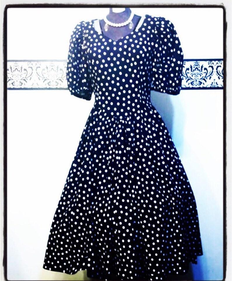 1950 s Black and White Polka Dot Rockabilly Dress Size  1d8740132