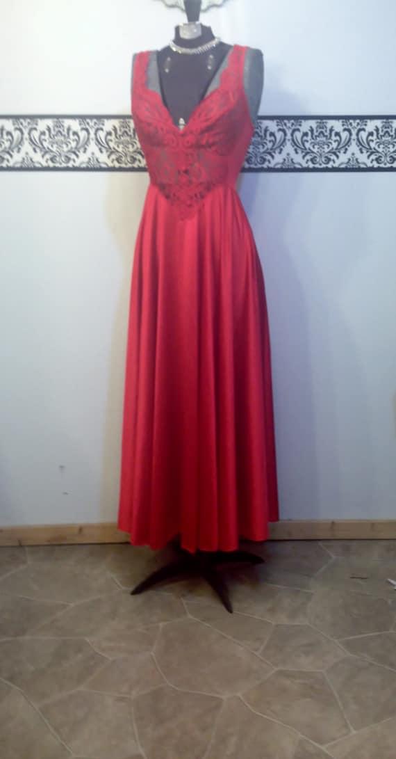 Nightgown Size 92770 1960's Teddy Floor Style Medium Length Lingerie Vintage 92770 Olga Olga Bombshell Wedding Bridal Olga Red Olga wR8URBqXg