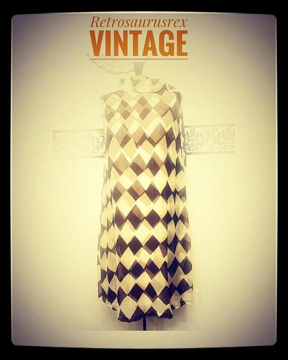 1960's Chevron Chiffon Trapeze Dress by Five Past