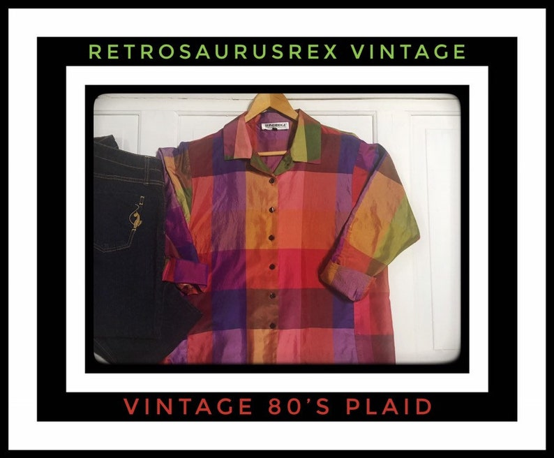a306f24de66f45 80's Rockabilly Rainbow Shimmer Plaid Blouse by Windridge | Etsy