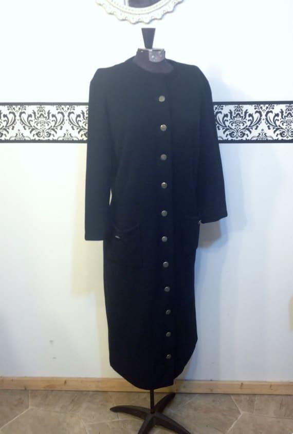 1960's Jet Black Kimberly Pure Wool Knit Long Slee