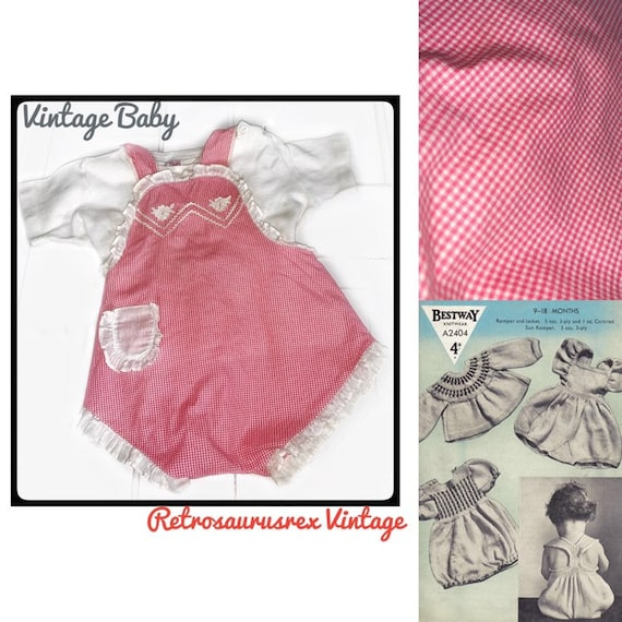 Vintage 1940's Red & White Gingham Checkered Bubbl