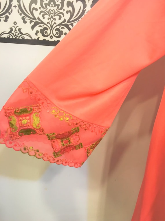 1960/'s Tangerine Pink with Black Lace Baby Doll Nightie Large  XL Pin Up Lingerie Mad Men Nightgown Vintage Pink Negligee