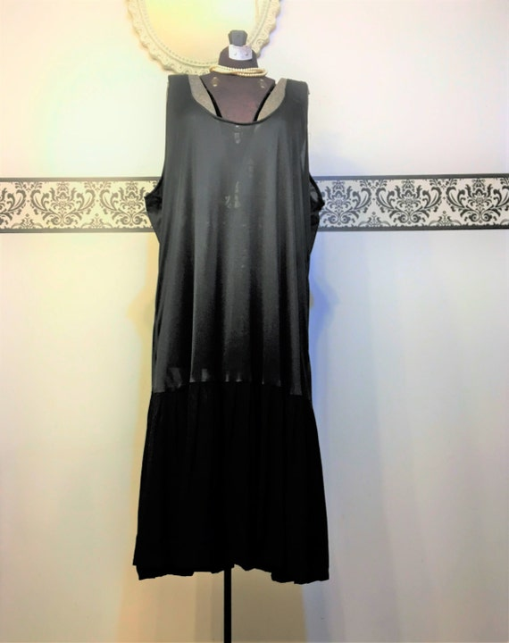 7382b215575ff Rare 1950 s Sheer Black Nightgown with Pleated Skirt