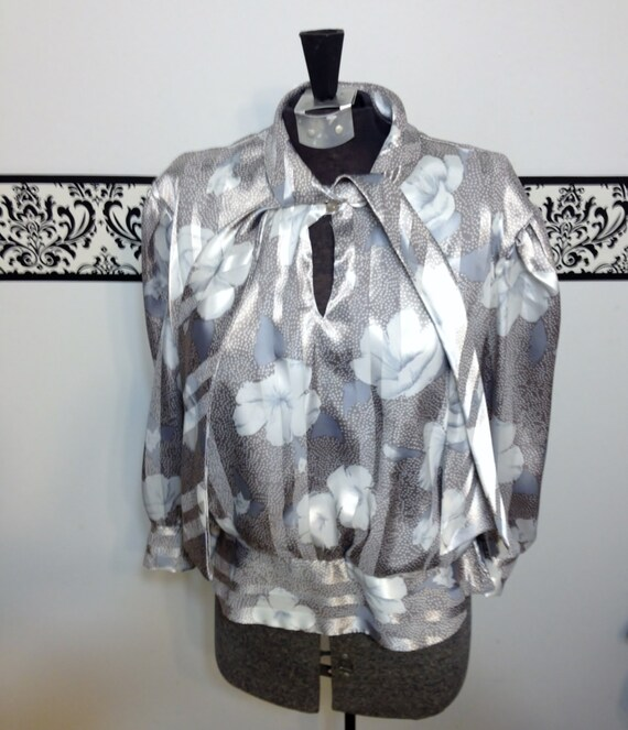 1970's Silver and Grey Secretary Blouse by Frejani