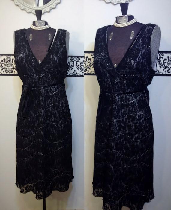1980's Black Lace Pin Up Dress by Bebe, Medium, Vi