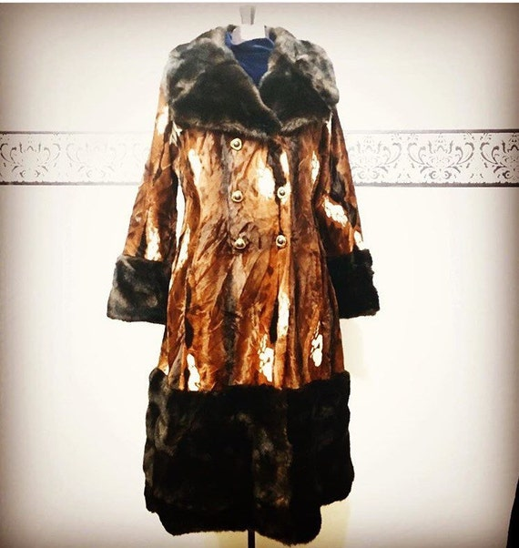 1960's Rare Cow Hide Faux Fur Coat by Priscilla Mo
