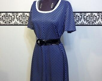 1960's Navy and White Polka Dot Pin Up Day Dress, Size Large, Vintage 1950's Polka Dot Rockabilly Summer Dress, Mod Twiggy