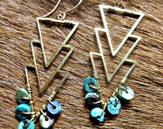 Triple arrow earrings with wire wrapped turquoise stones on bronze, bronze ear wires, artisan, cowgirl,southwest,native american, boho USA