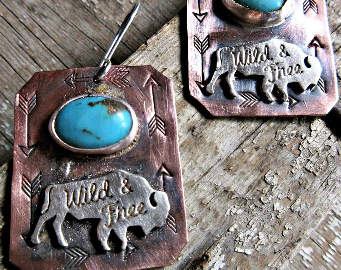 Featured listing image: Buffalo Roam earrings Wild and Free by Weathered Soul, western, cowgirl, turquoise, mixed metals, wildlife, silver and copper, artisan made