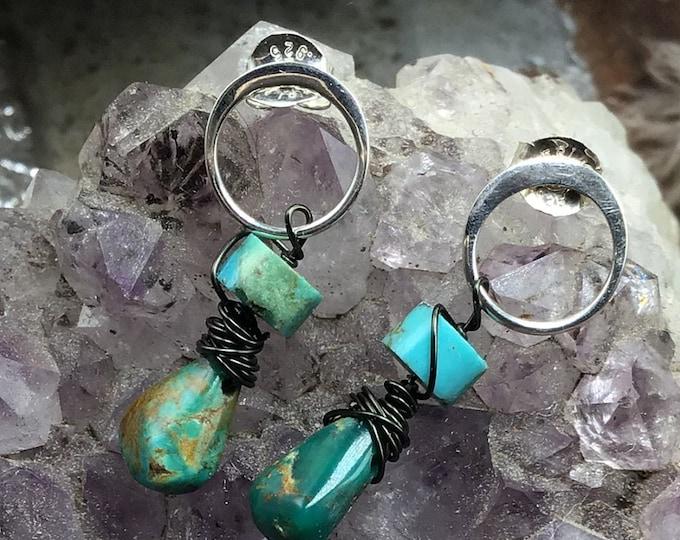 Tiny hoop and turquoise stud earrings,rustic,minimalist