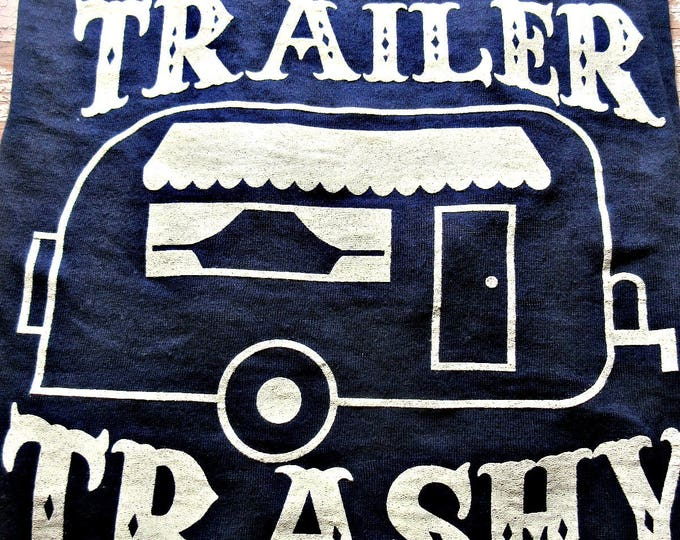 Navy blue burn out distressed tee with vintage trailer, graphic tee, travel trailer, glamping, camping, outdoors, ladies graphic tee, USA