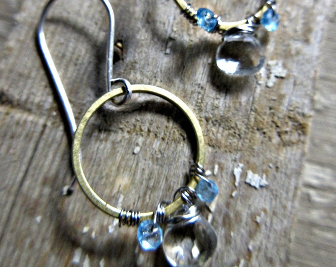 Bronze wire wrapped with topaz and apatite dainty hoops by Weathered Soul jewelry, artisan hoops, simple, minimalist, urban chic, USA made