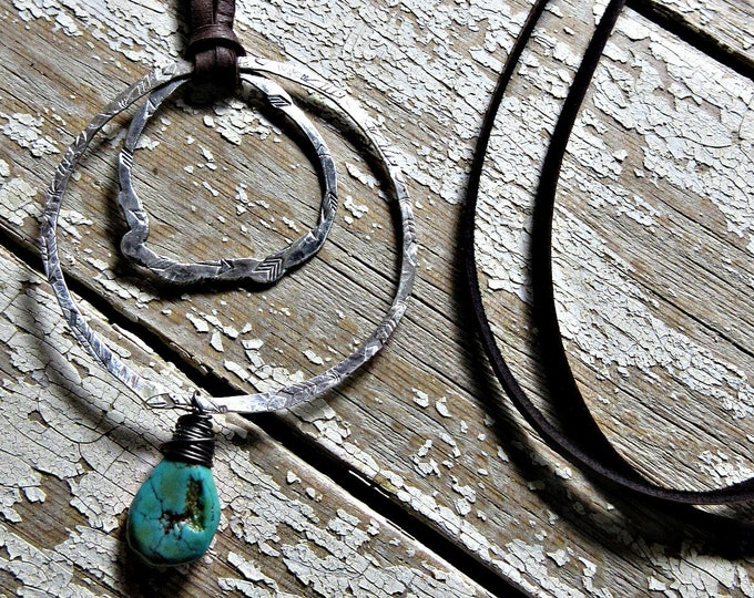 Going Full Circle Necklace by Weathered Soul Jewelry, hammered embossed feathers and arrows on two sterling rustic hoops with leather, USA