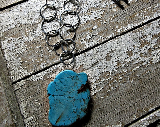 Chunky fun magnesite large statement stone with matrix, hammered link chain and leather by Weathered Soul, cowgirl, western, layering piece
