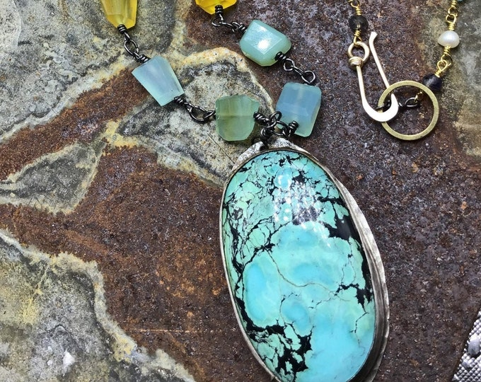 An array of colors necklace by Weathered Soul Jewelry, Chalcedony, pearls, labradorite,and turquoise make up this beautiful artist necklace