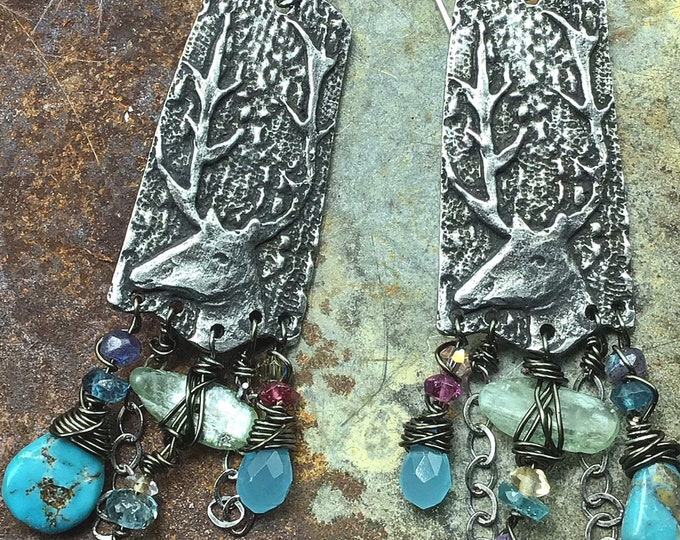 Essence of Summer earrings by Weathered soul, boho vibe with gemstones galore and chain, ball ear wires in sterling made to order