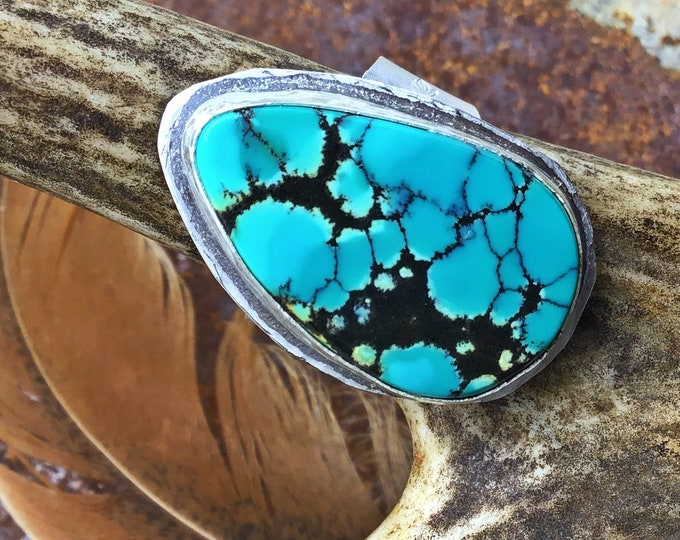 High matrix turquoise and sterling ring by Weathered Soul jewelry, urban chic, heritage style statement piece, urban cowgirl