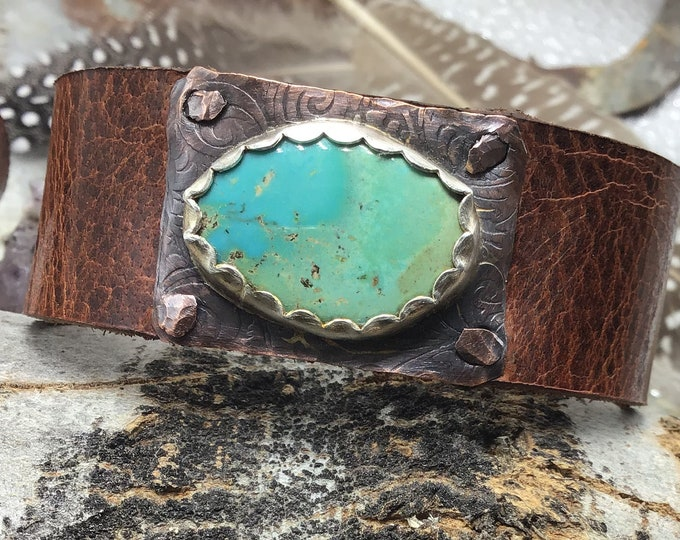 Dainty turquoise leather cuff bracelet with matrix turquoise ,distressed water buffalo leather, cowgirl style, minimalist, rustic jewelry