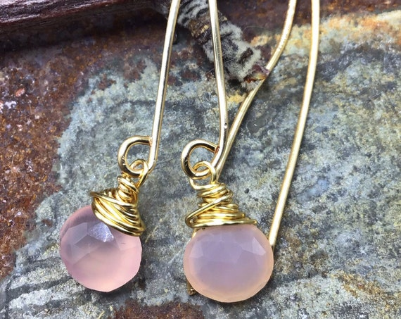 Sweet dainty pink chalcedony long wire simple minimalistic earrings by Weathered Soul, jewelers bronze ear wires