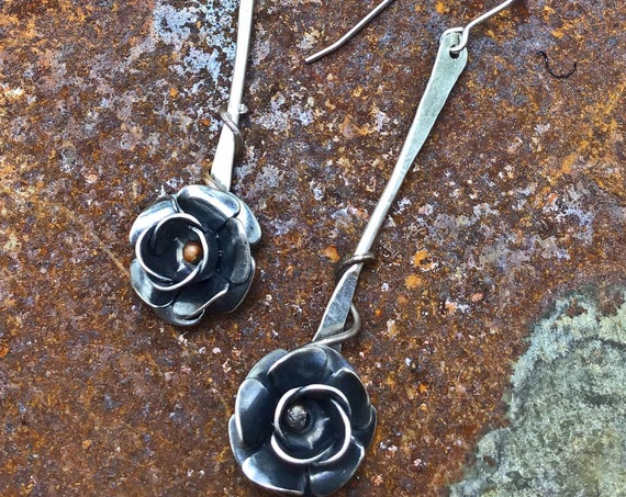 Prairie Rose drop earrings by Weathered Soul,minimalistic rustic sweet drop earrings,artistic,oxidized look,flowers