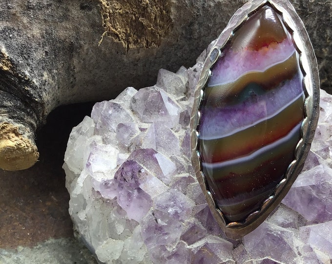 This agate ring is absolutely stunning! Purple, orange, grey, statement sterling oxidized size nine, rustic OOAK