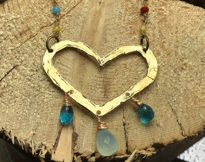 Be still my heart necklace by Weathered soul jewelry, bronze large hammered heart with gemstones, topaz,and leather,cowgirl fashion,wedding