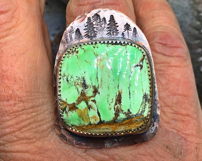 Stunning variscite into the forest in a rustic sterling finish, statement ring, artisan crafted,teardrop shape,cowgirl