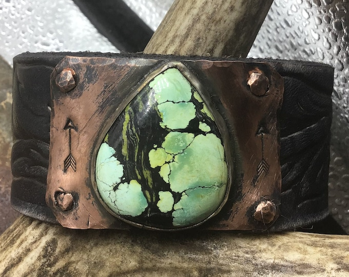 Matrix turquoise cuff bracelet, black embossed tooled leather belt, cowgirl, artisan jewelry,rustic,urban chic,USA crafted,Weathered Soul