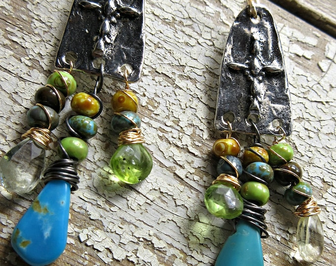 Old Rugged Cross earrings  by Weathered Soul, Inviciti, artisan, dangling gemstones, urban chic, inspirational, Weathered Soul Jewelry USA