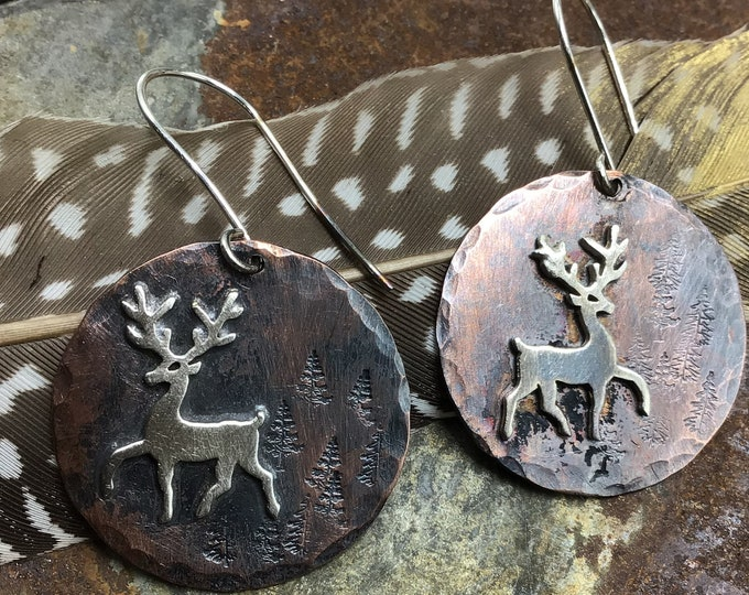 Prancing deer made to order earrings,copper and sterling with sterling ear wires, into the forest we go with these little critters