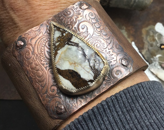 """Wild horse cuff by Weathered Soul, Wide 2"""" distressed leather cuff bracelet, super gorgeous Labradorite, urban chic"""