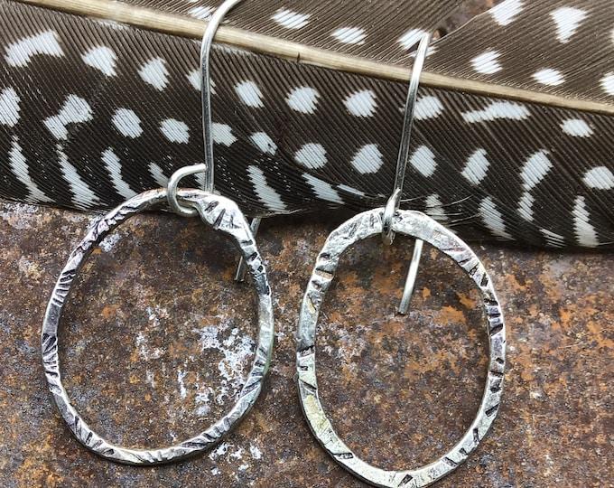 Rustic oval hoop earrings Sterling ear wires boho, high fashion,rustic,cowgirl,urban,classic,gemstone