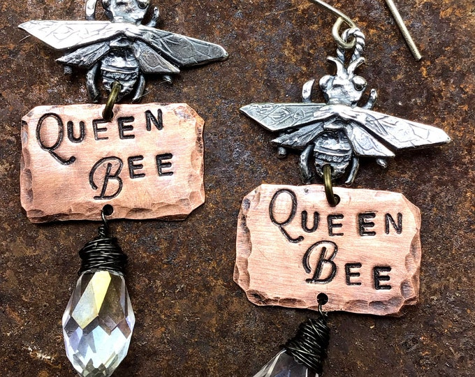 Queen bee silver, quartz, and copper artisan earrings by Weathered soul, statement earrings