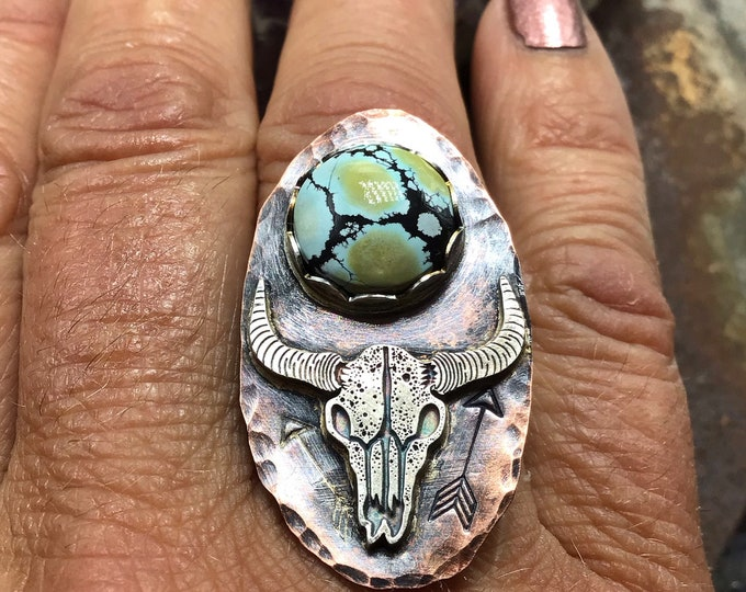Take no bull ring made to order,copper,sterling,giraffe turquoise,stones all vary, pick your size,statement ring,crafted one at a time,USA