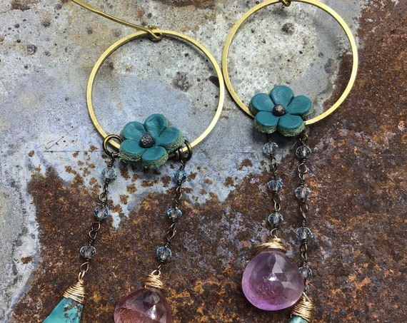 Made to order flowers in bloom earrings by Weathered Soul jewelry, teal leather flower on bronze hoop with topaz.turquoise, and pink quartz