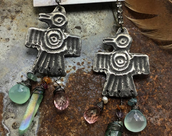 Thunderbirds in Springtime earrings by Weathered Soul jewelry, rhinestones and gemstones adorn these beauties