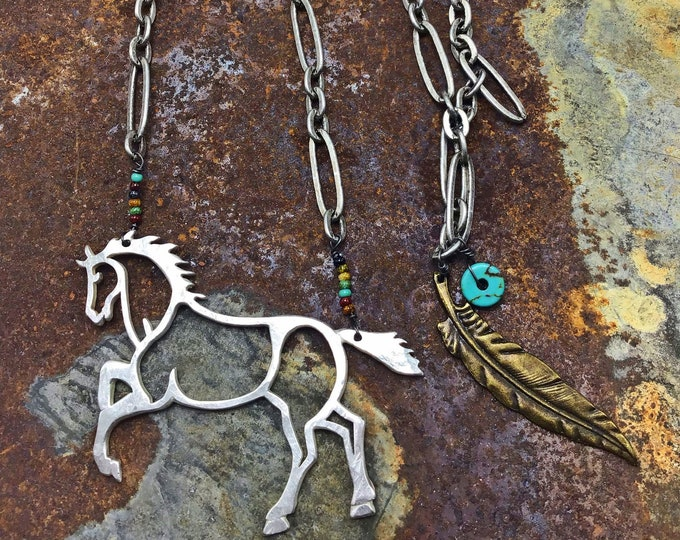 Desert prancing large pony necklace by Weathered Soul jewelry, hammered repurposed vintage pawn silver, seed beads,turquoise and arrow