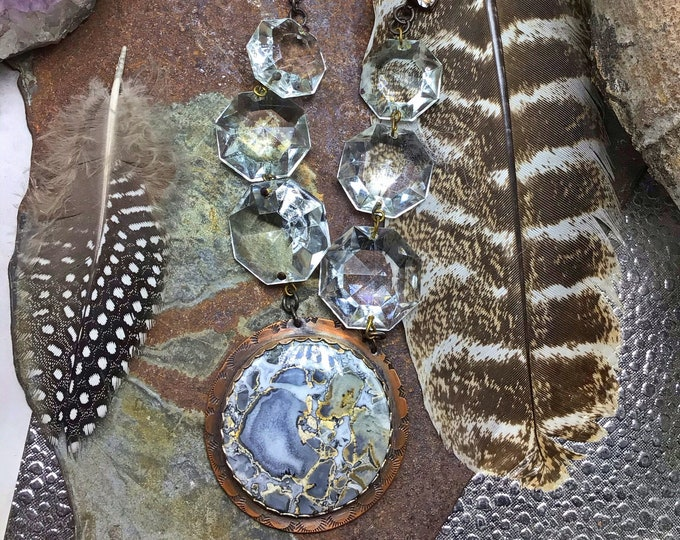 Incredible night on the town necklace with silver toned Jasper pendant and vintage crystalline and rhinestones with black leather OOAK
